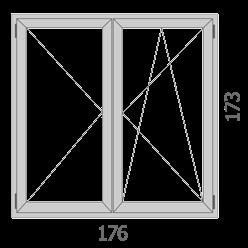 176×173 kétszárnyú bukó-nyíló ablak