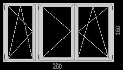 260×160 cm Háromszárnyú bukó – nyíló ablak
