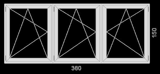 360×150 cm Három egyszárnyú bukó – nyíló ablak