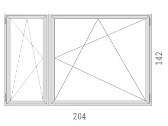 204 x 142 2 x Egyszarnyu ablak buko nyilo muanyag nyilaszaro rajz